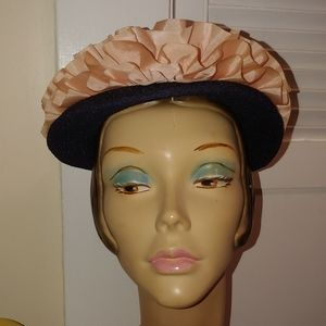 Vintage 1940s Navy Blue and Pink Woven Hat